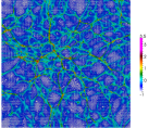 Evolution of structure in two-dimensional N-body simulation. Four stages are shown at