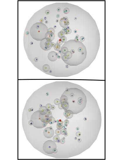 Two mutually orthogonal views of one of the largest halo along with its subhaloes in the simulation found by the AMF code. The haloes are represented by the spheres of the virial radii. Small colored spheres mark the particles with the maximum value of the flip-flop field and white dots show the centers of the sphere, some of which may be obscured by the respective colored spheres.