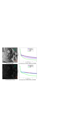 Analysing the sparsity of each group based nuclear norms minimization in terms of image inpainting. (a) Original