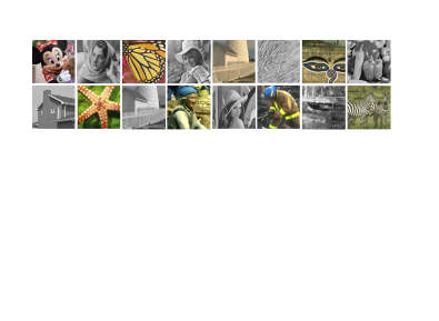 Test images. Top row, from left to right: Mickey, Barbara, Butterfly, elaine, Fence, straw, Golem, peppers. Bottom row, from left to right: House, Starfish, Fence, Nanna, lena, fireman, Bridge, Zebra.