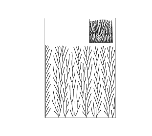 Growth patterns in a channel with reflecting walls with a characteristic asymmetric structure at the left wall. Similar structures are observed near the walls in the combustion experiments of Zik and Moses