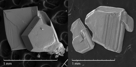 Scanning electron microscopy image of Fe(Se,Te) crystals with different morphology: hexagonal and tetragonal from x=0.21 batch (left), and tetragonal from x=0.17 batch (right).