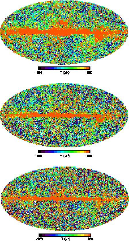 From top to bottom, combined Q-, V-, and W-band radiometer maps created by making maps for each individual radiometer and summing them using the weighting scheme of equation (24) of Hinshaw II.