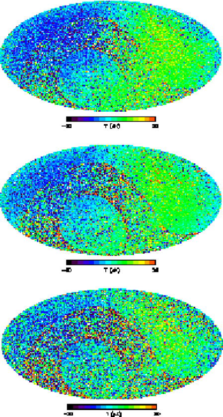 From top to bottom, combined Q-, V-, and W-band radiometer difference maps (