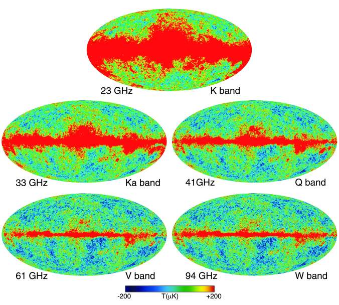 Nine-year temperature sky maps in Galactic coordinates shown in a Mollweide projection. Maps have been slightly smoothed with a