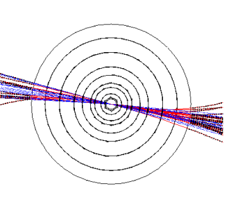 Two views of an event in the central detector, of the type