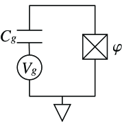 Basic charge qubit circuit. The upper wire constitutes the superconducting box or island.