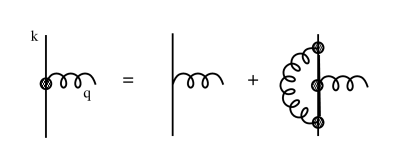 Dyson equation of the Coulomb-transverse gluon vertex. The thick line represents the full FP function