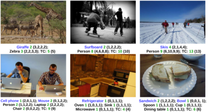 Object counting examples on the COCO and Visual Genome datasets. The ground-truth is shown in
