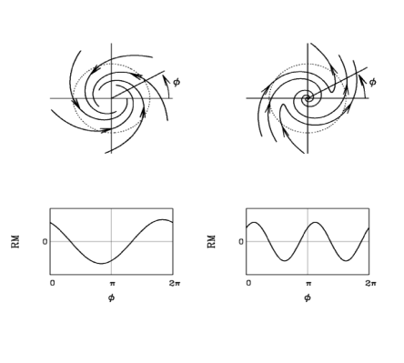 Axisymmetric and bisymmetric field configurations for disk systems along with the corresponding RM vs.