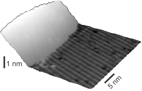 An STM image of the interface between the indium wires and a test tantalum pad. The surface reconstruction has grown up to the edge of the pad.