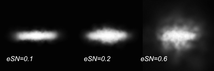 The gas projected density for the dwarf galaxy model seen edge on as