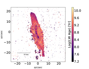 Map of the luminosity–weighted stellar age as calculated from spectral modelling.