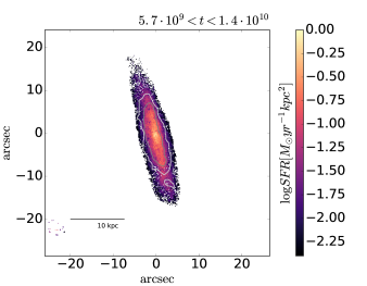 Star formation rate surface density as a function of position for different epochs corresponding to the 4 main SSP age bins. The contours are defined in the same manner as for Fig.