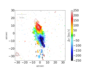 Left panel: Stellar velocity map. Right panel: gas velocity map. The solid lines in both figures are H