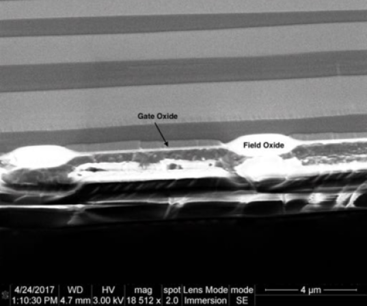 SEM cross sections of the ITL STA3800C device. The top image shows the thick field oxide in the channel stop region and the thin gate oxide in the channel region. the bottom image shows the three overlapping polysilicon layers which make up the parallel gates.