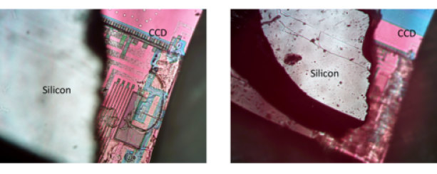 Various views of the E2V CCD with attached support silicon. The support silicon is believed to have no electrical function, but merely give mechanical support. The CCD is 100 microns thick and the support silicon is about 225 microns thick.