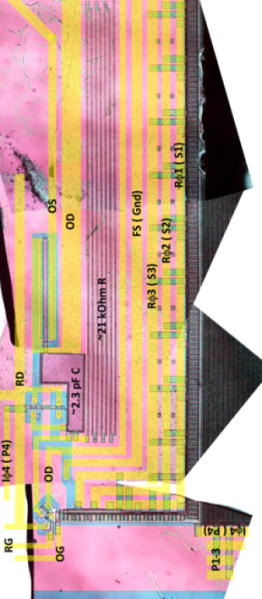 """Output chain on the E2V CCD250 device after deprocessing. This is a composite of several pieces after deprocessing. The deprocessing has removed the metal lines, but a """"ghost"""" image of the metal lines can still be seen. The image on the right has the metal lines drawn back in and labeled. The component values given here are an estimate from measuring the photographs and should be considered approximate ("""