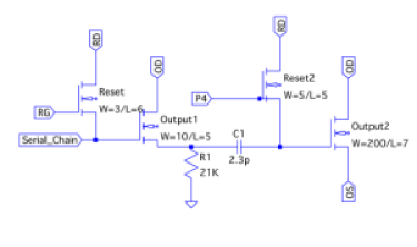 Approximate schematic of the E2V output chain. The component values given here are an estimate from measuring the photographs and should be considered approximate (