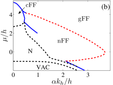 Typical phase diagrams for a two-dimensional Fermi gas under: (a) NIST SOC without two-photon detuning (no in-plane Zeeman field); (b) NIST SOC with finite two-photon detuning (finite in-plane Zeeman field); (c) Rashba SOC with both the out-of-plane and in-plane Zeeman field. The solid curves are first-order boundaries, the dashed curves represent continuous phase boundaries. Here, VAC represents the vacuum, and N represents normal state. See Ref.