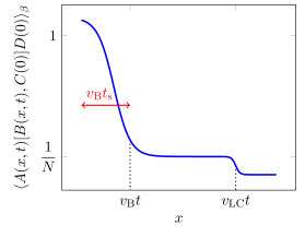 A sketch of the possible behavior of the OTOC in a large
