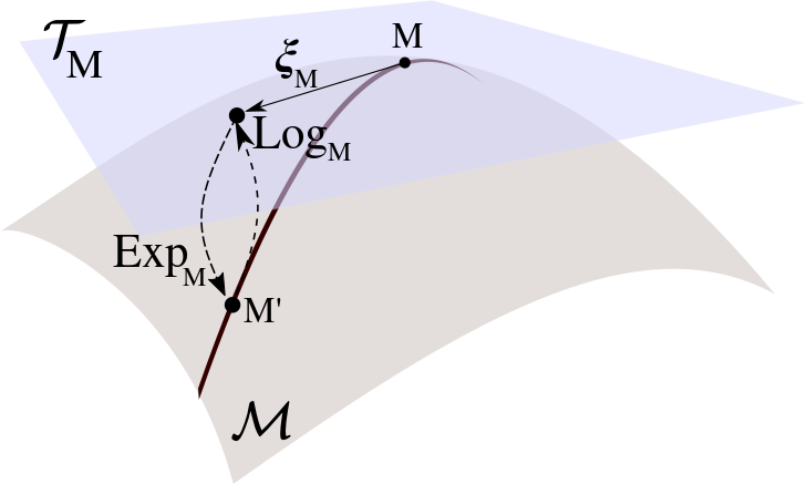 Tangent Space, exponential and logarithm on Riemannian manifold illustration.