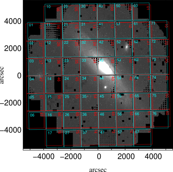 The Giga Pixel Camera (GPC) and its 60 detectors labeled by the blue and red grids. The red numbering indicates the same detector corresponding to the blue numbering, but rotated with 90 degrees during the observation. Each detector is composed of 4872