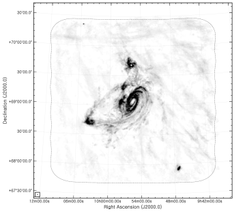 Comparison of C+D natural-weighted zeroth-moment maps without (left panel) and with (right panel) the Galactic emission channels. In both panels the grayscale runs from 0 (white) to 1.0 (black) Jy beam