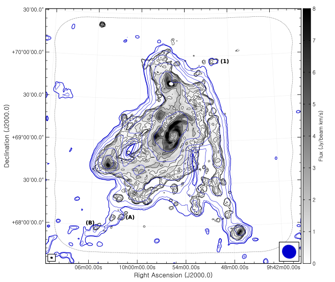 Comparison of our natural-weighted D-array zeroth-moment map with the GBT zeroth-moment map from