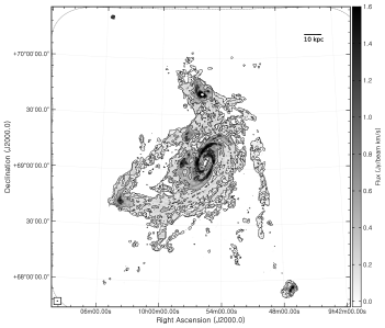 Left: Natural-weighted integrated intensity (zeroth moment) map derived using the C+D data. The grayscale runs from 0 (white) to 1.6 (black) Jy beam
