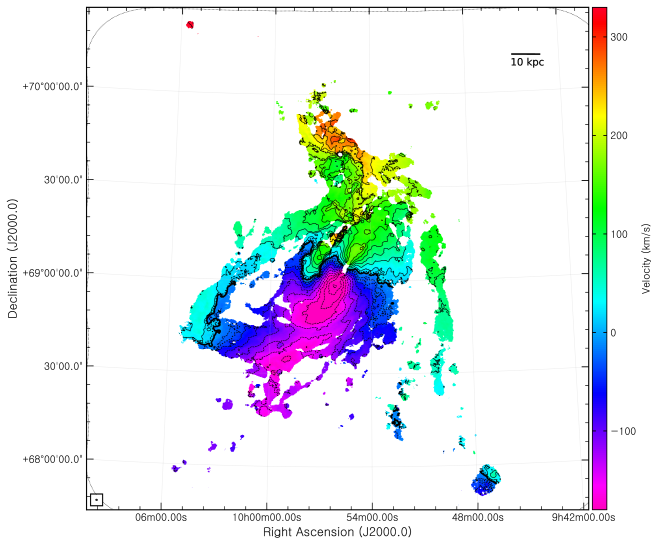 Natural-weighted intensity-weighted mean velocity (first moment) map derived using the C+D data. The color-scale runs from
