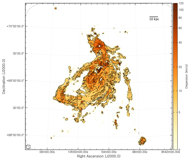 Natural-weighted velocity dispersion (second moment) map using the C+D configurations. The color-scale uses an arcsinh stretch, running from 0 (light) to 120 (dark) km s