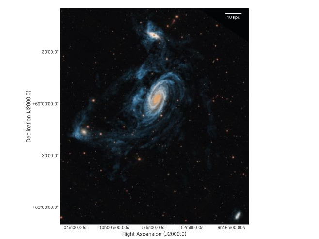 False-color overlay of the robust-weighted zeroth-moment map (in blue) on an color SDSS image of the M81 triplet. The area shown in slightly smaller than in Fig.