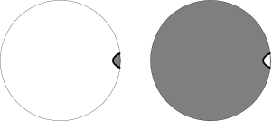 A typical observer sees a boosted version of the previous figure, with the dust wall asymptotically moving away at a finite velocity.