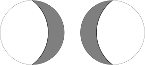A constant time slice of the two-bubble solution. The spatial geometry consists of two 3-hyperboloids glued across a wall of dust to each other. Here the 3-hyperboloids are pictured, with one dimension suppressed, in the Poincare disk representation. The two disks are to be glued along the dust wall (heavy line), and the shaded regions are to be thrown away.