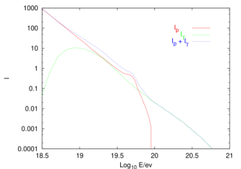 Combined spectra of high energy protons and primary photons, for a homogeneous and isotropic distribution of sources at distances between