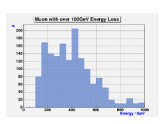 Left: The energy spectrum of the background muons that hit the detector surface; Right: The energy deposited in a block of iron of 8 interaction lengths