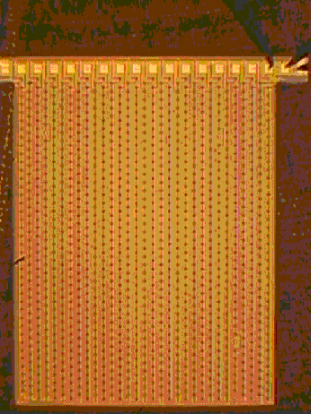 Left: 3D detector with microstrip readout configuration. The electrodes and the aluminium strips, which tie the rows of