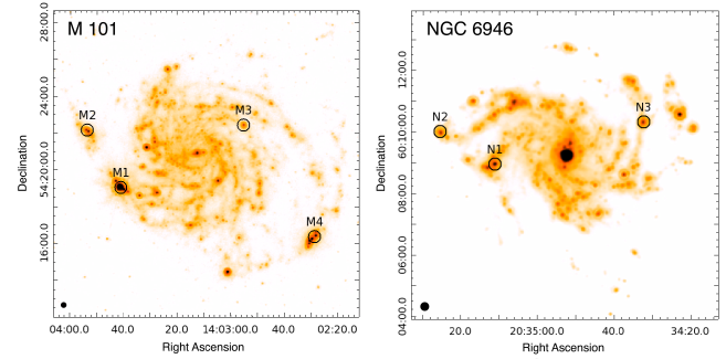 Positions of the four star-forming regions in M101 (left panel) and the three star-forming regions in NGC6946 (right panel) that were observed with SOFIA overplotted on MIPS 24