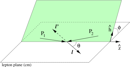Kinematics of the Drell-Yan process in the lepton center of mass frame.