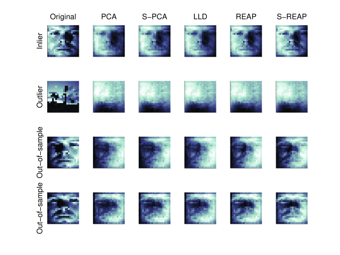 The dataset consists of 32 images of a single face under different illuminations and 400 random images from the Caltech101 database. The original images [