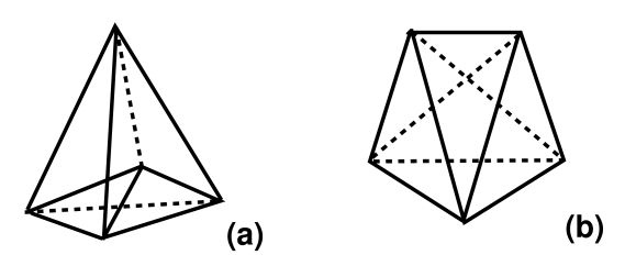 A (4,1)- and a (3,2)-tetrahedron in four dimensions.