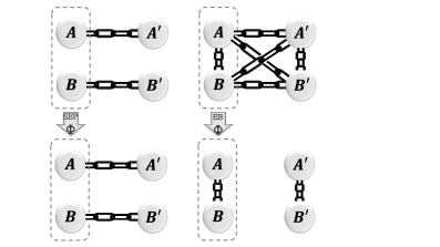 Difference between separable (left) and entanglement-breaking (right) channels for a bipartite system