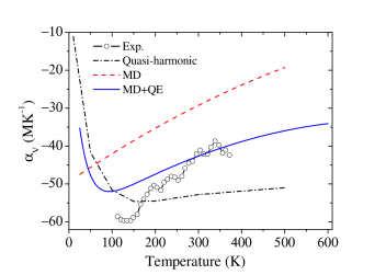 Calculated temperature dependence of the NTE with both anharmonicity and quantum effects included ('MD+QE', solid curve), together with the results from MD (dashed curve) and QHLD (dash-dot curve). The former clearly has a better agreement with the experiment (empty circle)