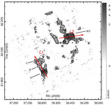 Top: Bolocam 1.1 mm emission map (grayscale, overlaid with same set of contours as in Fig.