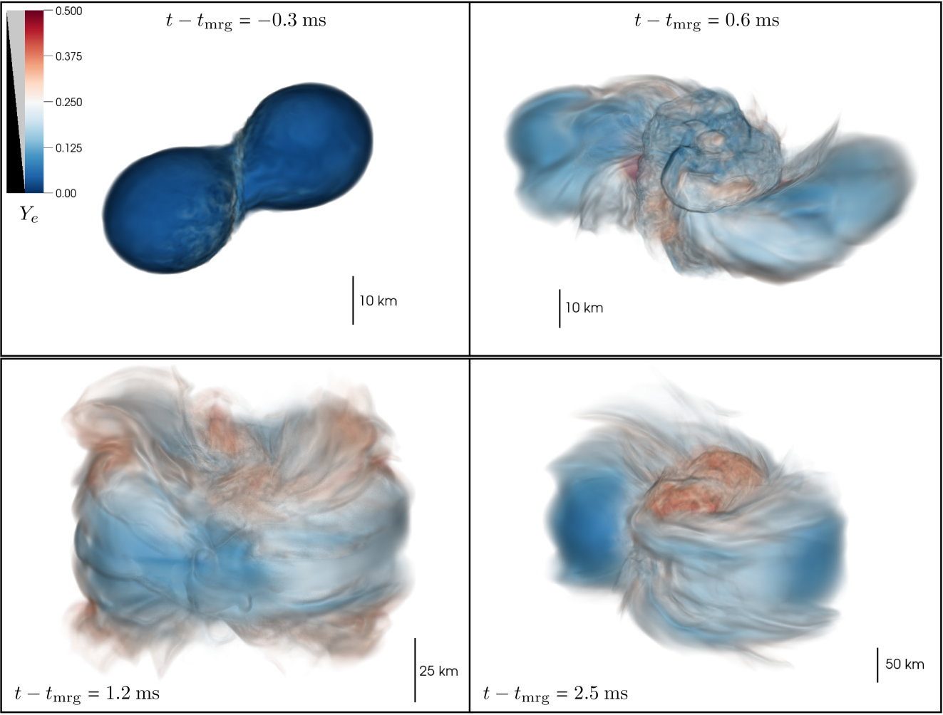 Volume rendering of the electron fraction of the ejecta for the simulation