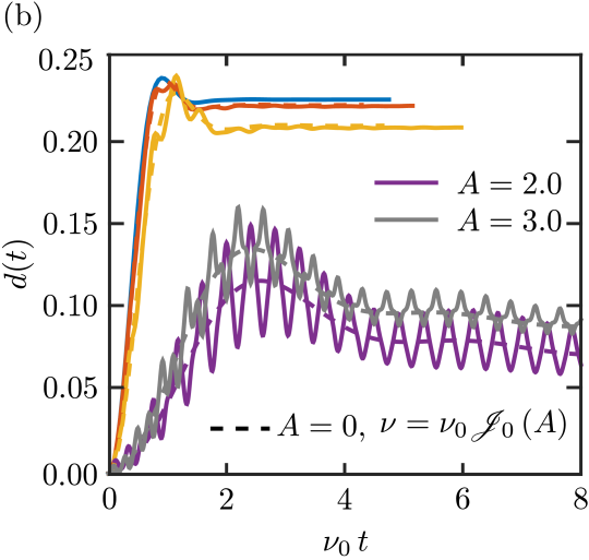 Time evolution of a lattice with high-frequency driving. (a) Magnetic order parameter. (b) Double occupation. The solid lines correspond to systems with