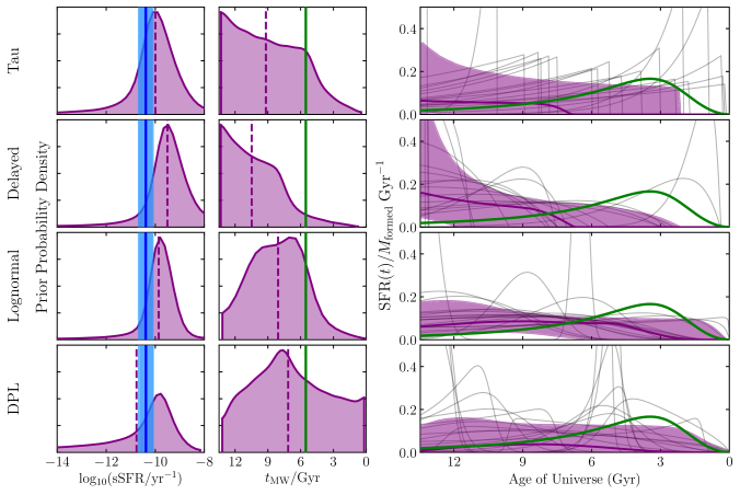 Prior probability densities for sSFR, mass-weighted formation time and SFH shape imposed by each of our four parametric SFH models (see Section