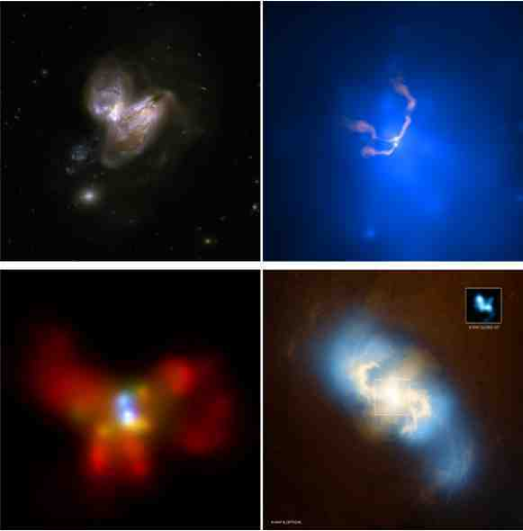 """Active black holes in colliding galaxies. Arp299 (upper left panel) is the interacting system resulting from the collision of two gas-rich spirals, and hosts a dual AGN, i.e.two black holes """"active"""" during the pairing phase. The accreting black holes are visible in the X-rays and are located at the optical centres of the two galaxies, at a separation of"""