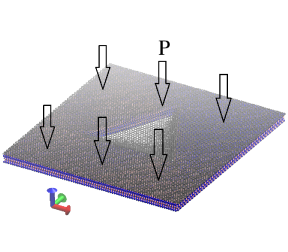 Illustration of a MD simulation cell conveying the strategy used to generate the graphene nanobubbles. An aperture (a triangle in this case) is perforated on hexagonal boron nitride on which rests a monolayer of graphene (gray). Argon gas is then pressurized against graphene which bulges through the aperture, with a deflection that is controlled by the gas pressure. For ease of visualization the gas molecules are not shown in the picture above. Visualization is performed using VMD